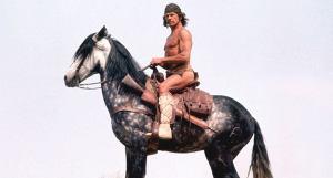 En mann i bar overkropp og med amerikanske urinnvåner-klær sitter på en grå og hvit hest. Vi ser hesten fra hasene og op og i profil. Hestens mule vender mot venstre. Charles Bronson, som spiller Pardon Chato, sitter rakrygget og ser rett i kamera med et alvorlig og bestemt uttrykk. I bakgrunnen er det blågrå himmel.